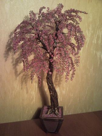 дерево сакура из бисера - Мир Бисера.